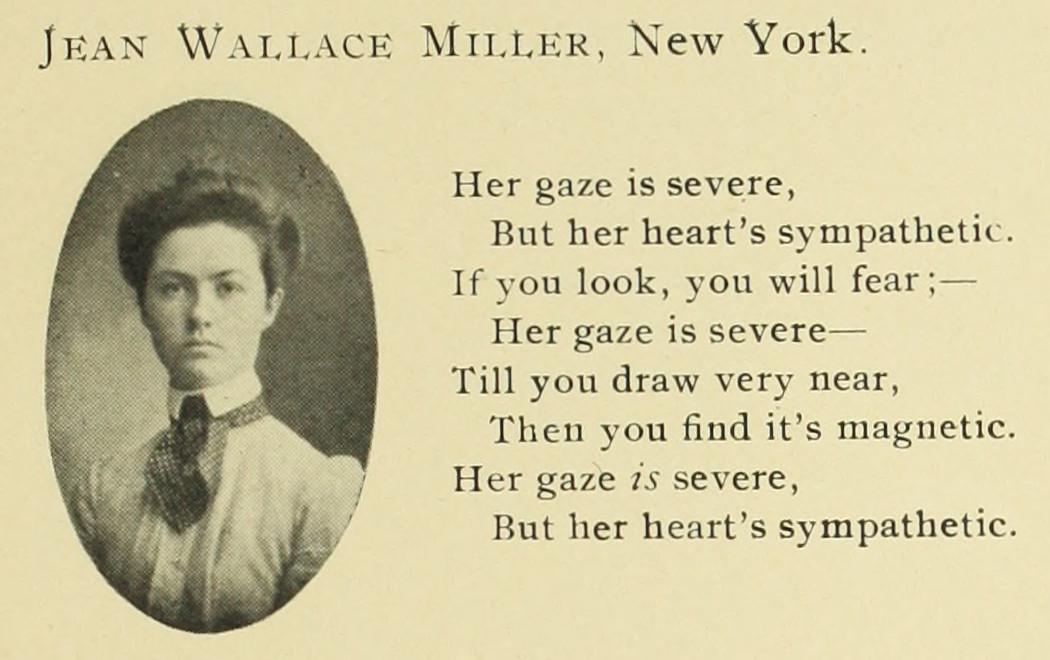 Snímek Jean Wallace Miller bulletinu Barnard College vydané r. 1902