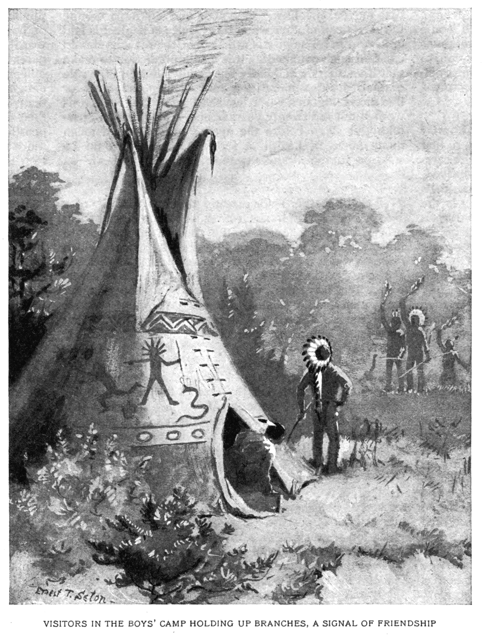 VISITORS IN THE BOY'S CAMP HOLDING UP BRANCHES, A SIGNAL OF FRIENDSHIP